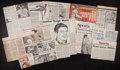 Baseball Collectibles:Others, Hall of Fame Pitchers Signed Newspaper Lot of 15....