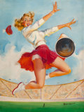 Mainstream Illustration, JOYCE BALLANTYNE (American, 1918-2006). The Cheerleader. Oilon canvas. 23.5 x 18 in.. Signed lower right. From the ...