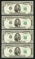 Small Size:Federal Reserve Notes, Fr. 1965-B* $5 1950D Federal Reserve Star Notes. Four Consecutive Examples. Very Choice Crisp Uncirculated.. ... (Total: 4 notes)