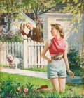 Mainstream Illustration, HARRY ANDERSON (American, 1906-1996). Hello, Neighbor!.Tempera on board. 21.25 x 18 in.. Signed lower left. Fromth...