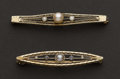 Estate Jewelry:Brooches - Pins, Two Vintage Gold & Pearl Pins. ... (Total: 2 Items)