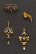 Estate Jewelry:Brooches - Pins, Two Pins & Two Vintage Drops. ... (Total: 4 Items)