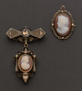 Estate Jewelry:Cameos, Two Antique Cameo Pins. ... (Total: 2 Items)