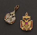 Estate Jewelry:Other , Two Gold Masonic Fobs. ... (Total: 2 Items)