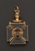 Estate Jewelry:Other , Gold & Onyx Knights Templar Fob. ...