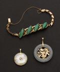 Estate Jewelry:Suites, Gold & Jade Bracelet & Two Pendants. ... (Total: 3 Items)