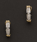 Estate Jewelry:Earrings, Two Tone Diamond Earrings. ...
