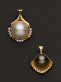 Estate Jewelry:Pearls, Two Gold & Pearl Enhancer's. ... (Total: 2 Items)