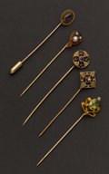 Estate Jewelry:Stick Pins and Hat Pins, Five Antique Gold Stickpins. ... (Total: 5 Items)