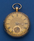 Timepieces:Pocket (pre 1900) , Swiss 55 mm Fancy Dial 18k Gold Lever Fusee Pocket Watch. ...