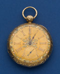 Timepieces:Pocket (pre 1900) , Swiss 49 mm Multicolor Dial 18k Gold Key Wind Pocket Watch. ...