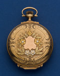 Timepieces:Pocket (post 1900), Elgin Fancy Dial 16 Size 14k Multi-Color Box Hinged Pocket Watch. ...