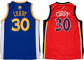 Basketball Collectibles:Uniforms, Stephen Curry Signed Jerseys Lot of 2....