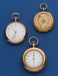 Timepieces:Pocket (post 1900), Three Gold Pocket Watches Two 14k Gold One is 18k Gold. ... (Total:3 Items)