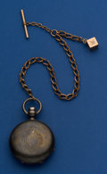Timepieces:Pocket (pre 1900) , Elgin 4 Oz Coin Silver Key Wind Pocket Watch With Gold FilledChain. ...