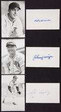 Autographs:Index Cards, Johnny Mize, Billy Herman, And Luke Appling Signed Index Cards....