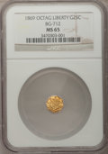 California Fractional Gold: , 1869 25C Liberty Octagonal 25 Cents, BG-712, High R.4, MS65 NGC.NGC Census: (2/4). PCGS Population (21/5). (#10539)...