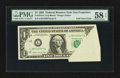 Error Notes:Foldovers, Fr. 1913-L $1 1985 Federal Reserve Note. PMG Choice About Unc 58EPQ.. ...
