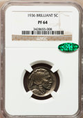 Proof Buffalo Nickels, 1936 5C Type Two -- Brilliant Finish PR64 NGC. CAC....