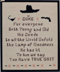 "Movie/TV Memorabilia:Memorabilia, Two Needlepoints Related to ""True Grit,"" 1969.... (Total: 2 )"