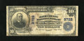 National Bank Notes:Virginia, Hot Springs, VA - $10 1902 Plain Back Fr. 626 The Bath County NBCh. # 8722. This Fine note has a few margin reinfor...