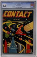 Golden Age (1938-1955):Science Fiction, Contact Comics #12 (Aviation Press, 1946) CGC VG+ 4.5 Off-white towhite pages....