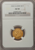 Classic Quarter Eagles, 1834 $2 1/2 AU58 NGC. Small Head, Breen-6138, Variety-1, R.1....