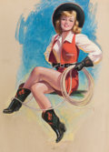 Pin-up and Glamour Art, BRADSHAW CRANDELL (American, 1896-1966). Cow Girl withLasso. Pastel on board. 45.25 x 29 in.. Signed center right....