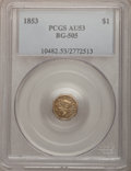 California Fractional Gold: , 1853 $1 Liberty Octagonal 1 Dollar, BG-505, R.4, AU53 PCGS. PCGSPopulation (4/74). NGC Census: (0/13). (#10482)...
