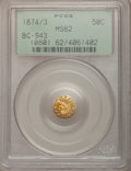 California Fractional Gold: , 1874/3 50C Indian Octagonal 50 Cents, BG-943, High R.4, MS62 PCGS.PCGS Population (8/27). NGC Census: (0/3). (#10801)...