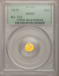 California Fractional Gold: , 1870 25C Liberty Octagonal 25 Cents, BG-763, Low R.4, MS60 PCGS.PCGS Population (7/71). NGC Census: (0/14). (#10590)...