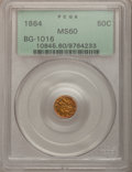 California Fractional Gold: , 1864 50C Liberty Round 50 Cents, BG-1016, R.5, MS60 PCGS. PCGSPopulation (4/35). NGC Census: (0/5). (#10845)...