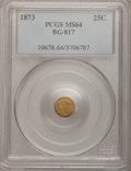 California Fractional Gold: , 1873 25C Liberty Round 25 Cents, BG-817, R.3, MS64 PCGS. PCGSPopulation (48/23). NGC Census: (9/10). (#10678)...