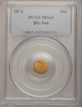 California Fractional Gold: , 1874 50C Indian Octagonal 50 Cents, BG-944, R.5, MS63 PCGS. PCGSPopulation (9/12). (#10802)...