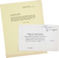 Movie/TV Memorabilia:Memorabilia, A John F. Kennedy-Related Set of Correspondence, 1960-1961....