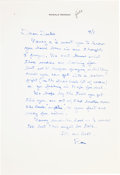 Movie/TV Memorabilia:Memorabilia, A Ronald Reagan Handwritten Letter, Circa 1979....