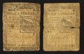 Colonial Notes:Continental Congress Issues, Two Continental Currency February 17, 1776 $1/2 Notes Very Good..... (Total: 2 notes)