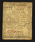 Continental Currency February 17, 1776 $1/3 Very Good-Fine