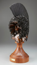 Sculpture, FRITZ WHITE (American, b. 1930). Mandan Bonnet. Bronze with patina. 28 x 11 x 17 inches (71.1 x 27.9 x 43.2 cm) includin...