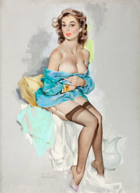 FRITZ WILLIS (American, 1907-1979) Pin-Up in Blue, Brown & Bigelow Calendar Pin-Up, February 1962 Oi