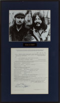 Music Memorabilia:Autographs and Signed Items, Seals & Crofts Signed Agreement....