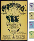 Music Memorabilia:Photos, Cream Fillmore/Winterland Concert Poster with Ticket Group BG-110(Bill Graham, 1967).... (Total: 5 Items)