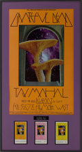 Music Memorabilia:Posters, The Grateful Dead/Taj Mahal Fillmore West Concert Poster BG-216with Tickets (Bill Graham, 1977).... (Total: 4 Items)