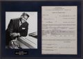 Music Memorabilia:Autographs and Signed Items, Fats Domino Signed Agreement....