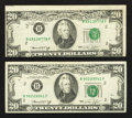 Error Notes:Error Group Lots, Fr. 2071-B $20 1974 Federal Reserve Notes. Very Fine-Extremely Fineand About Uncirculated.. ... (Total: 2 notes)