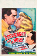 """Movie Posters:Film Noir, Double Indemnity (Paramount, 1946). First Post-War Belgian (14"""" X21.5"""").. ..."""