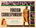 """Movie Posters:Hitchcock, Foreign Correspondent (United Artists, 1940). Half Sheet (22"""" X28"""").. ..."""