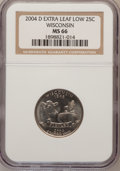 Statehood Quarters, 2004-D 25C Wisconsin Extra Leaf Low MS66 NGC. PCGS Population(200/3). Numismedia Wsl. Price for proble...