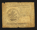 Colonial Notes:Continental Congress Issues, Continental Currency May 20, 1777 $5 Very Good-Fine.. ...