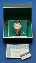 Timepieces:Pocket (post 1900), Rolex Reference 1625 Two-Tone Gents Datejust With Thunder BirdBezel Wristwatch. ...